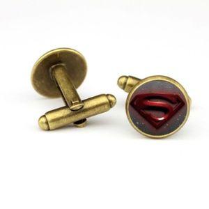 Other - Men Shirt Cuff Links Glass Brass Superman S Mark